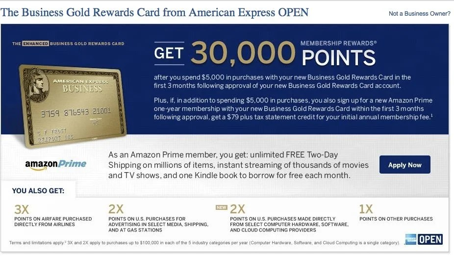 30,000 Membership Rewards Points & Amazon Prime with AMEX Business Gold Rewards
