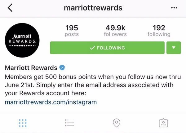 500 Free Marriott Points By Following On Instagram