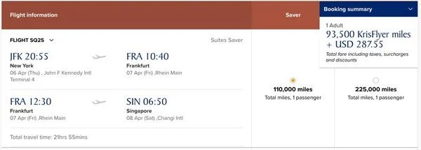 Singapore Airlines First Class Suite Award Seats Available