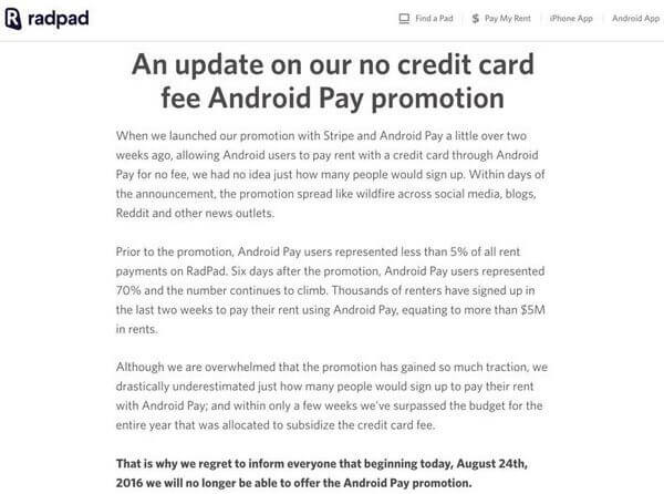 Abrupt Early End Of RadPad Android Pay Promotion
