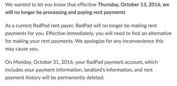 Effective Tomorrow: No More Rent Payments With RadPad!