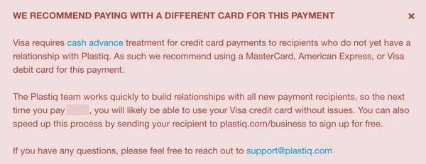 Plastiq Visa Warning