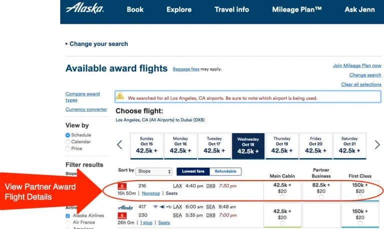 Book Alaska Airlines Partner Flights