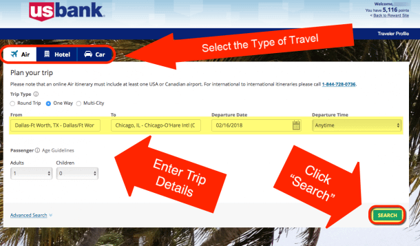 How To Use The US Bank Travel Portal