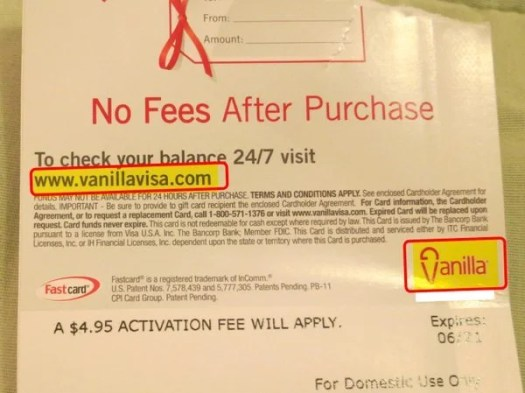 Back of Vanilla Visa Gift Card