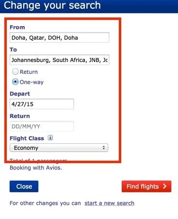 Search from Doha to Johannesburg