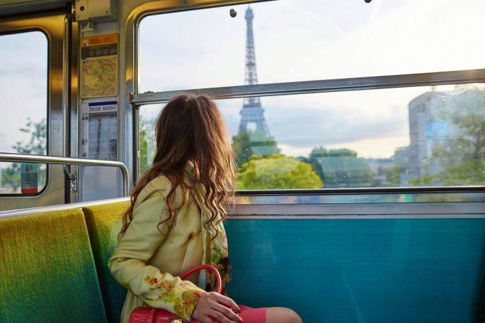 Woman on train in Paris