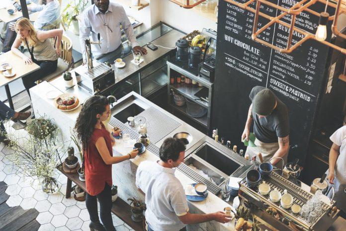 Coffee shop aerial view