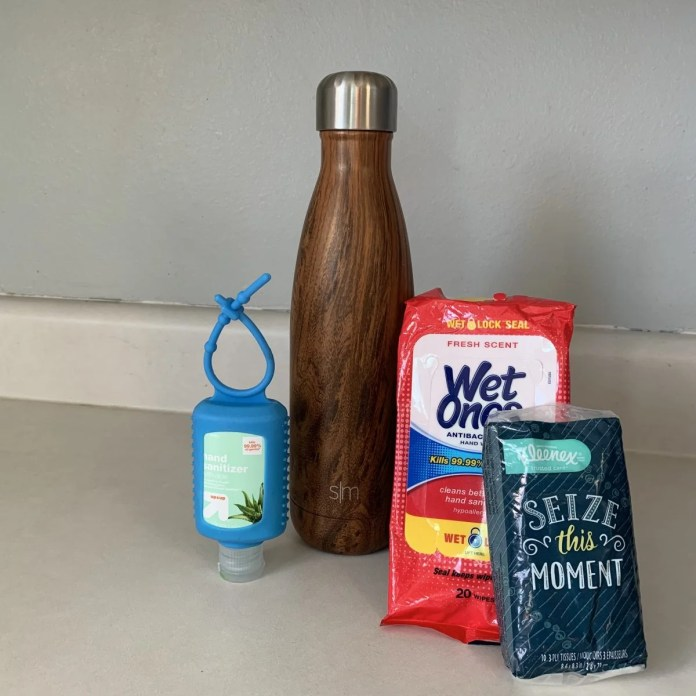 A Reusable Water Bottle is One of the Necessities I Take on Every Flight. This Bottle is Stainless Steel Inside, Keeping the Water Fresh. This 18oz Bottle Is Still Thin Enough to Carry in Backpack Water bottle Pockets (Unlike Clunky Nalgene Bottles).