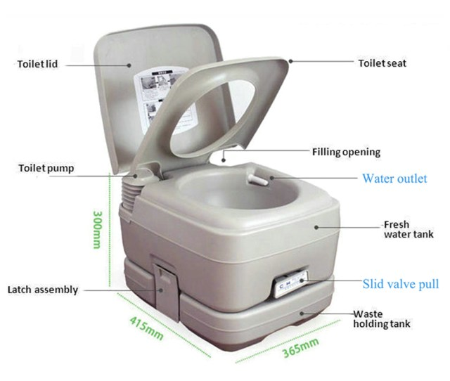 L Portable Camping Toilet Flush Porta Travel Vehicle Boat Toilet Potty Gray