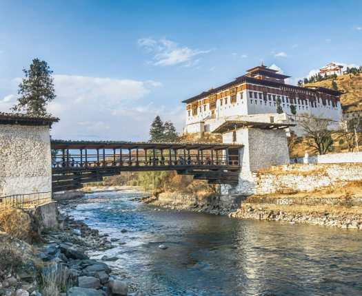 The bridge across the river with traditional bhutan palace, Paro Rinpung Dzong, Bhutan