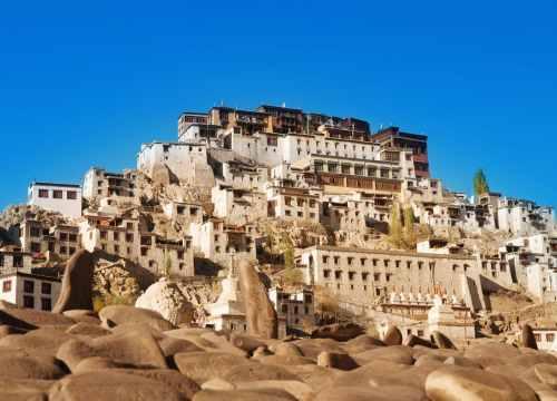 Buddhist heritage, Thiksey monastery or Gompa temple under blue sky. Leh, Ladakh, India