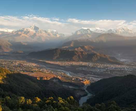 View over Pokhara, and Annapurna Range, Nepal