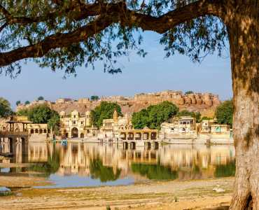Gadi Sagar (Gadisar) Lake is one of the most important tourist attractions in Jaisalmer, Rajasthan, North India. Artistically carved temples and shrines around The Lake Gadisar Jaisalmer.