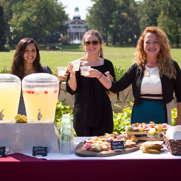 Drink & dessert station set up on campus
