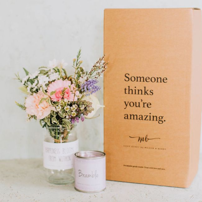 Postal Flower & Candle Gift Box