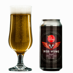 Red Wing in Glass With Can