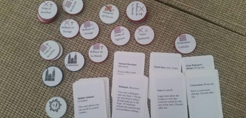 Spanish Road playtest: Some of the cards and pieces