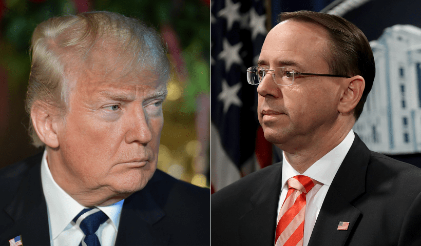 Rosenstein told President Trump he's not a target of Michael Cohen probe