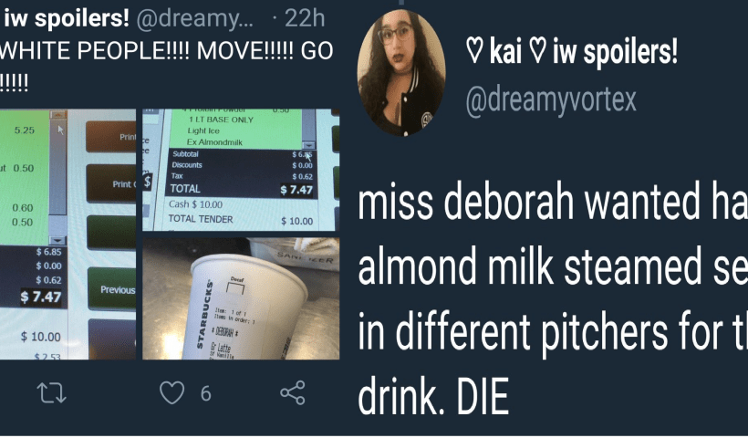 Barista at Starbucks hates white people, calls for customer to 'DIE'