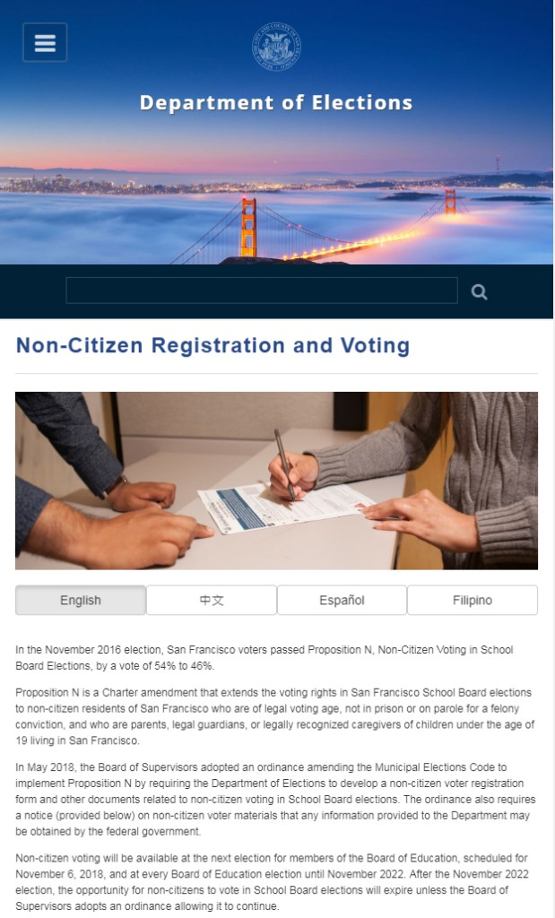 San Francisco now allows illegal aliens to vote in local elections