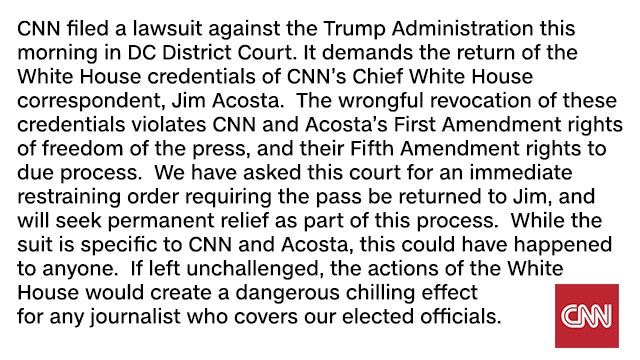 CNN says it is suing President Trump