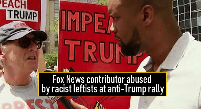 Fox News contributor abused by racist leftists at anti-Trump rally