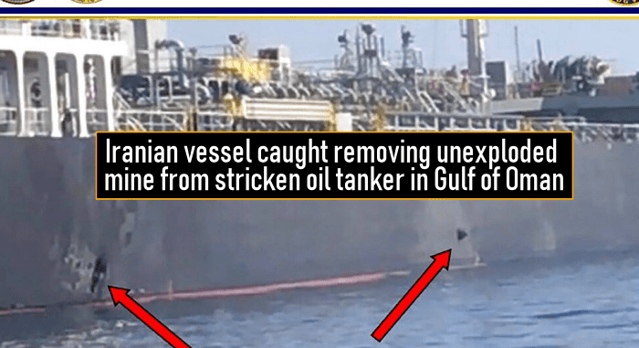 Iranian vessel caught removing unexploded mine from stricken oil tanker in Gulf of Oman