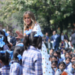 Melania Trump Welcomed With Performance by Students at Sarvodya