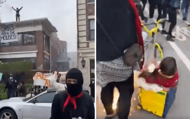 VIDEO: Child Nearly Hit With Incendiary Device at Antifa Protest