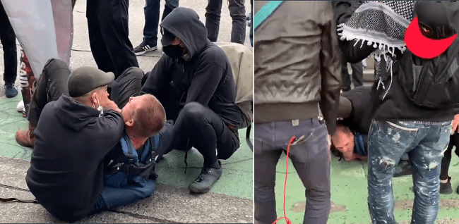 ANTIFA Tackle and Choke Street Preacher For Illegally Entering 'CHAZ'