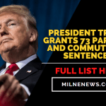 President Trump Grants 73 Pardons and Commuted 70 Sentences, Full List Here