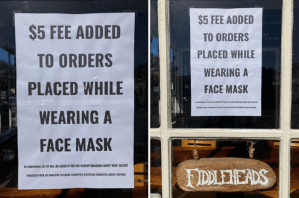 California Cafe Owner Says He'll Fine Patrons For Wearing A Mask Or Bragging About Vaccine and Donate It To Charity