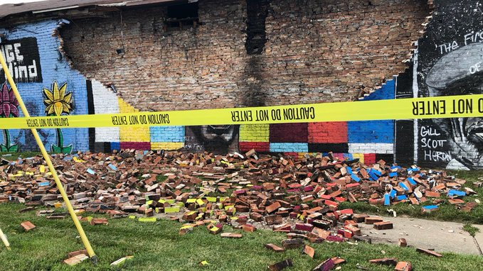 George Floyd Mural In Toledo, Ohio, Destroyed By A Lightning Strike