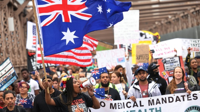 Americans Chant 'Save Australia' During Rally Against Vaccine Mandates and Lockdowns
