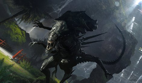 Alien 5 Neill Blomkamp Alien Queen Hunting Artwork by Geoffroy Thoorens