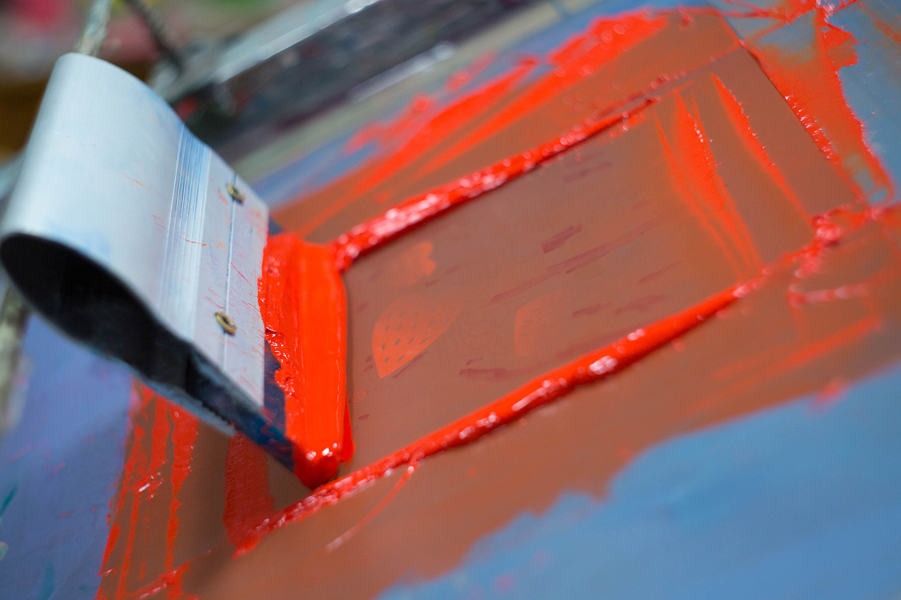 Screen-printing closeup