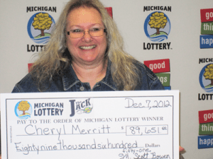 """Cheryl Merritt of Carleton claims $89,651 from the 12/06/2012 Club Keno """"The Jack"""" drawing. (Photo Courtesy of the Michigan Lottery.)"""