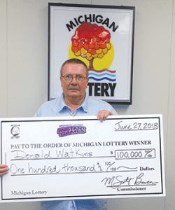 Donald Watkins of Tekonsha claimed $100,000 from the Michigan Lottery's $100,000 Cashword Instant game # 620. (Photo Courtesy of the Michigan Lottery.)