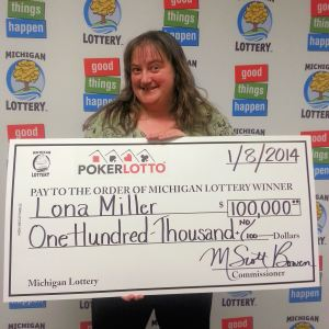Lona Miller of Chase claims $100,000 grand prize from the January 4, 2014 Poker Lotto drawing. (Photo: Courtesy of the Michigan Lottery)