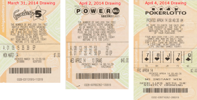 April 7 Actual Fantasy 5,Powerball and PokerLotto Winning Tickets