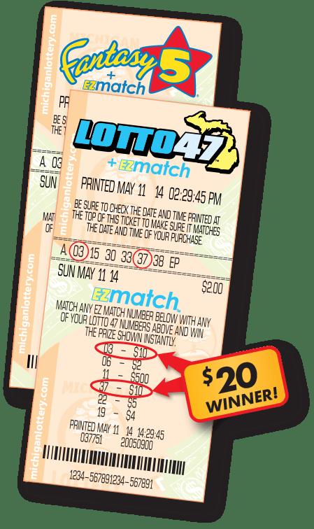 EZmatch Fantasy 5 and Lotto 47 Ticket Examples