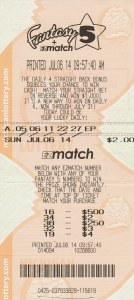Fantasy 5 Winning Ticket