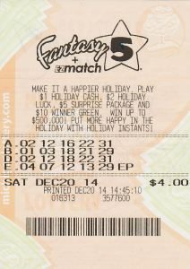 12.22.14 Fantasy 5 12.20.14 Draw $174,248 Anonymous Genesee County