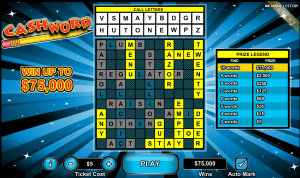 Lynn Engelhart won $75,000 with this ticket playing the Michigan Lottery's online Cashword game.