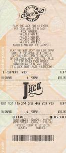 Tory Balulis' winning Club Keno The Jack ticket.
