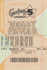 04.14.15 Fantasy 5 04.10.15 Draw $100,000 Anonymous Alpena County