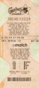 04.23.2015 Fantasy 5 04.26.14 $159,835 Anonymous Wayne County
