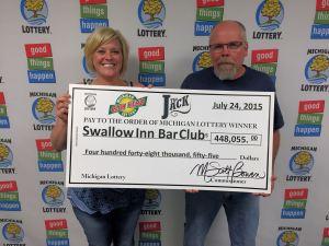 07.24.15 Club Keno The Jack 07.22.15 Draw 1233879 $448,055 Swallow Inn Bar Lottery Club Delta County