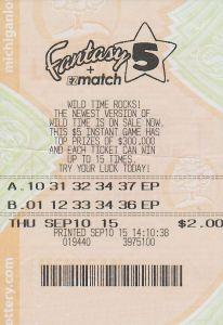 09.11.15 Fantasy 5 09.10.15 $283,791 Anonymous Tuscola County